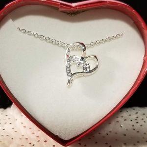 Avon silvertone Heart Necklace